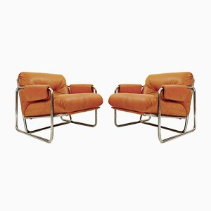 Chrome and Cognac Leather Armchairs, 1970s, Set of 2