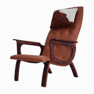 Danish Cognac Leather and Cowhide Armchair, 1970s