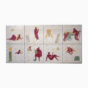 Azulejos de cerámica de Gio Ponti, años 70. Juego de 8