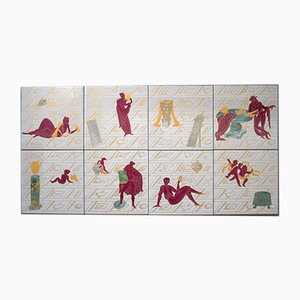 Ceramic Tiles by Gio Ponti, 1970s, Set of 8