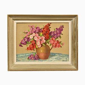 Art Deco, Small Roses Still Life, 20th Century, Oil On Canvas