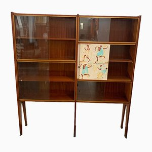 Mahogany Shelf with Bronze Tips by Osvaldo Borsani, 1950s