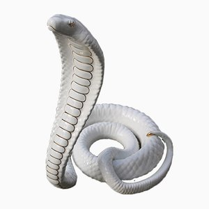 Big Ceramic Cobra Sculpture by Tommaso Barbi, Italy, 1970s