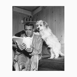 Cary Grant Studying His Script With A Friend, Archival Pigment Print Framed in Black, Everett Collection, 1953