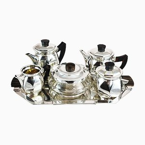Art Deco Coffee Set With Silver Tray, 1920s, Set of 6