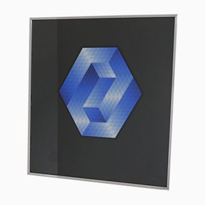 Geometrisches gerahmtes Kunstwerk des späten 20. Jahrhunderts