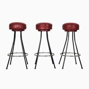 Tabourets de Bar Américains, 1960s, Set de 3