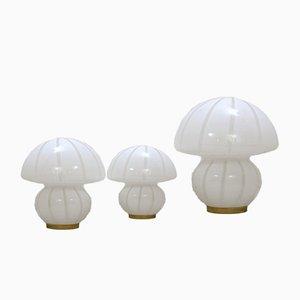 Lampes de Bureau Champignon en Verre Murano, 1960s, Set de 3