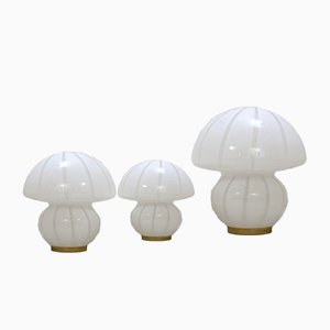 Murano Glass Mushroom Table Lamps, 1960s, Set of 3