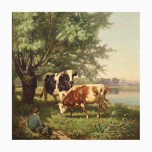 Scena bucolica francese, XIX secolo, olio su tela