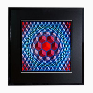 Victor Vasarely, Framed Serigraph, Printed by Editions Du Griffon, 1972
