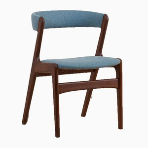 Teak Blue Upholstery Fire Style Dining Chair from Schou Andersen, Denmark, 1960s
