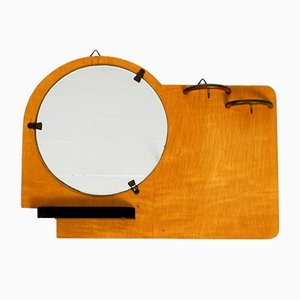 Art Deco Plywood Wall Mirror and Key Rack, France, 1930s