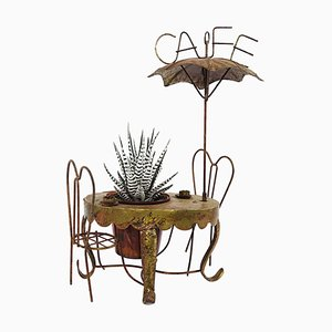 Vintage Brass Miniature of a Parisian Sidewalk Café Table, Chair and Parasol