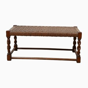 Low & Long Cord Wooden Stool, 1960s