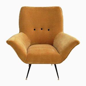 Italian Vintage Armchair Reupholstered with Saffron Mustard Yellow Velvet, 1950s