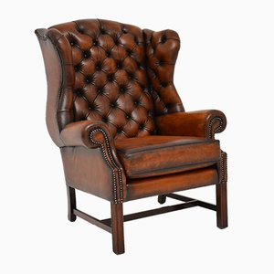 Georgian Style Leather Wing Back Armchair , 1950s