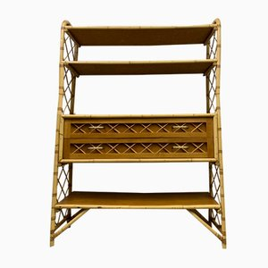 Mid-Century Rattan Shelf by Louis Sognot