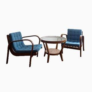 Sessel & Tisch von Antonin Kropacek, Karel Kozelka für Interier Praha, 1940er Jahre, 3er-Set