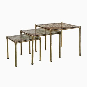 Italian Brass and Smoked Glass Coffee Tables, 1970s, Set of 3