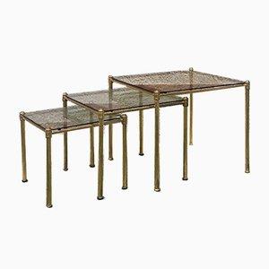 Tables Basses en Laiton et Verre Fumé, Italie, 1970s, Set de 3