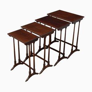 Antique Mahogany Nesting Tables, Set of 4