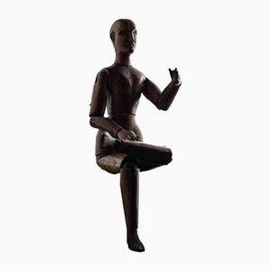 Antike französische Figur aus geschnitztem Holz
