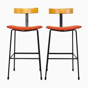 Tabourets de Bar Programme avec Assises Orange par Frank Guille pour Kandya, 1950s, Set de 2
