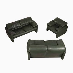 Dark Green Leather Sofas and Armchair by Vico Magistretti for Cassina, 1970s, Set of 3