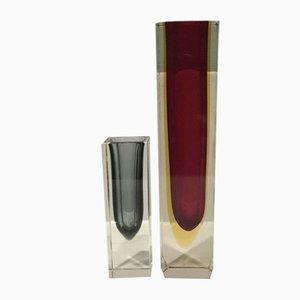 Mid-Century Vasen aus Muranoglas von Flavio Poli für Made Murano Glas, 2er Set
