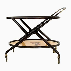 Ebonized Beech Serving Cart by Cesare Lacca with Oriental Print, Italy, 1950s