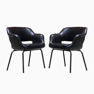 Italian Modern Black Leather Armchairs from Cassina, 1970s, Set of 2
