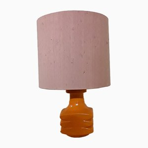 Ceramic Table Lamp with Pink Fabric Shade from Scheurich, 1970s