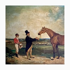 Ecuestre victoriano, óleo sobre lienzo