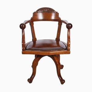Chaise de bureau en chêne anglais avec coussin fixe en cuir