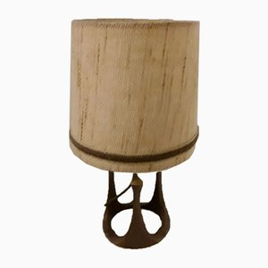 Brutalist Table Lamp with Wool Shade from Schäfer-Leuchten, 1970s