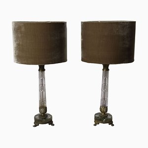 Bronze and Cut Glass Table Lamps, 1920s, Set of 2