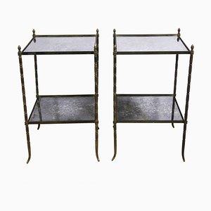 Beistelltische aus französischem Messing und Eglomise-Glas aus der Mitte des Jahrhunderts, 1950er Jahre, 2er-Set