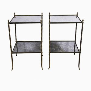 Mid-Century French Brass and Eglomise Glass Side Tables, 1950s, Set of 2