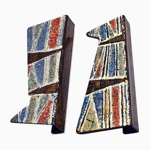 Maniglie per porte in metallo smaltato di Siva Poggibonsi, anni '50, set di 2