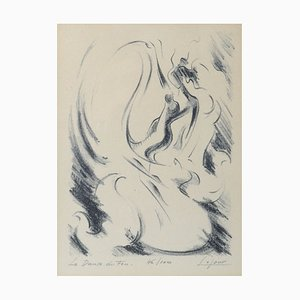 Jean Lejour, The Dance of Fire, Lithograph, 1950s