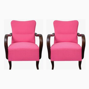 Art Deco Pink Armchairs, 1920s, Set of 2