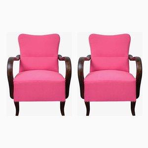 Poltrone Art Deco rosa, anni '20, set di 2