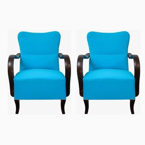 Art Deco Blue Armchairs, 1920s, Set of 2