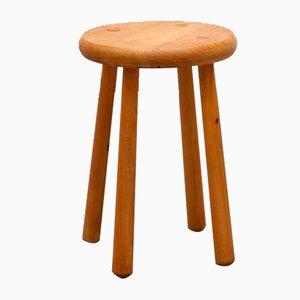 French Pine Stool, 1970s