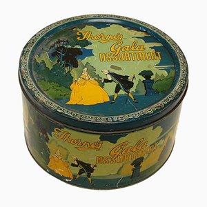 Art Deco Silk Screened Box or Tin Can, 1940s