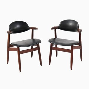 Mid-Century Modern Teak Cowhorn Chairs by Tijsseling for Hulmefa Nieuwe Pekela, 1960s, Set of 2