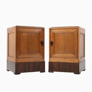 Art Deco Hague School Oak Nightstands, 1920s, Set of 2