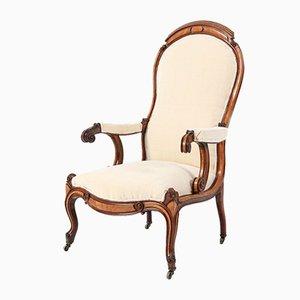 Sedia a schienale alto vittoriana in legno satinato o voltaire, metà XIX secolo
