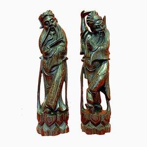 Exotische Holzstatuen mit Intarsien aus Silber, 1900er